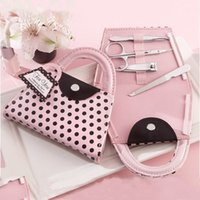 Wholesale Wedding Shower Favors Manicure - Pink Polka Purse Manicure Set Handbag Pedicure Set Wedding Favor Gifts Baby Shower Favors Nail Clippers Kit+DHL Free Shipping