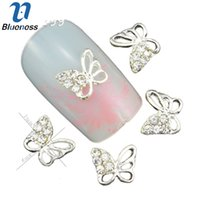 Wholesale 3d Butterfly Nail Art - Wholesale-10 Pcs Lot 3D Charms Butterfly Design Nails Hollow Silver Alloy Manicure Accessories DIY Fashion Nail Art Decorations TN1299