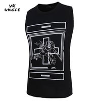 Wholesale Cross Singlets - Wholesale- Singlets Mens Tank Tops Shirt Bodybuilding Equipment Fitness Cross Printed Men's Golds Stronger Tank Top Men Clothes,YK UNCLE