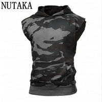 Wholesale Men S Vest Hoodies - Wholesale- NUTAKA 2017 Gyms Hoodie Stringer Tank Top Men Waistcoat Fitness Vest Men's Singlets Sporting Top Tees Sleeveless Sweatshirts