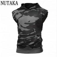 Wholesale modal tees tops - Wholesale- NUTAKA 2017 Gyms Hoodie Stringer Tank Top Men Waistcoat Fitness Vest Men's Singlets Sporting Top Tees Sleeveless Sweatshirts
