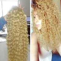 Wholesale Wet Wavy Ombre Weave - cheap blonde Brazilian Virgin Hair Deep Water Wave Brazilian Hair Weave Bundles Wet And Wavy Virgin 3Bundles Human Hair Extensions Free Ship