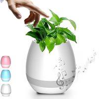 Wholesale Led Lights Flower Pot - New Smart Music Flower Pot with LED Light Bluetooth Speaker 2017 Trending Product Green Plant Smart Touch Sensitive Flowerpot 100pcs DHL