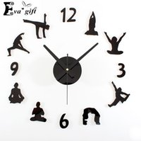 Wholesale Wall Stickers Women - Wholesale-Creative yoga wall clock for living room mute quartz DIY wall watch decorative Fashion wall stickers clock for women gift