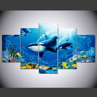 Wholesale beautiful sea painting resale online - 5 Pieces Whale canvas painting pictures for living room the Beautiful sea view modular canvas painting posters and prints