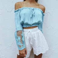 Wholesale Embroidery Floral Top - 2017 Women Blue White Chiffon Bardot Blouse Top Off Shoulder Bell Sleeve Crop Top Summer Embroidery Casual Shirt Clubwear Blouses DZG0304