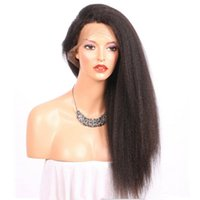 Wholesale coarse yaki lace - Kinky Straight 360 Lace Band Frontal Wigs For Black Women Italian Coarse Yaki Malaysian Virgin Human Hair Pre Plucked Full 360 Lace Wigs