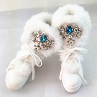 Wholesale Boots Stones - Wholesale-Handmade sew-on rhinestone stone fox fur leather snow boots waterproof platform heels winter warm boots shoes woman boots 35-41