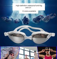 Wholesale Electroplate Swimming - .Swimming Tools Swim Goggles Glasses With earplugs Water Goggles Water Sports Beach Swimming Glasses Leisure Electroplate Womens Mens M485
