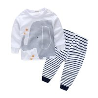 Wholesale Stripes Long Sleeves Outfits - Baby Boys Outfits Short Sleeve T-Shirt Tops+ Stripe Long Pants Toddle Clothes