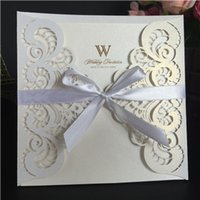 Wholesale Ribbon Wedding Invites - White Ribbon Wedding invitations hollow out Laser cut wholesale price personalized wedding invitation cards wedding invites DHL free