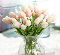 Wholesale Orange Artificial Tulips - Wholesale-16pcs lot New PU Real Touch Mini Tulips Artificial PU Flowers Wedding Home Decorative Flowers 9 color (no vase)