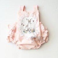 Wholesale Cute Sweet Boys - Sweet Girls Rompers Cute Lace Rabbit Romper Cotton One-piece Summer New Jumpsuits Tutu Toddler Bodysuit Soft Babies Jumpsuit Pink A6658