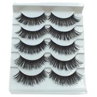 Wholesale Big False Eye Lashes - 5 Pairs Set Handmade Black Beauty Long Thick Cross False Eyelashes Big Eyes Fake Eyelashes Makeup Tools