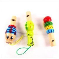 Wholesale Kids Animal Whistle - Wholesale- Kids toys Baby Orff instruments wooden animal whistle educational toys small jewelry pendant for children toy