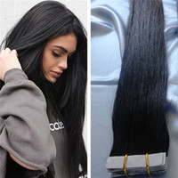 Wholesale Tape Hair Extensions Lengths - Skin Weft Hair Extensions Hip Length 18-28 inch 120pcs 300g Silky Brazilian PU Hair Straight Color #1 jet blacek Tape in Human Hair