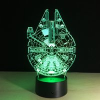 Wholesale Led Diy Usb - MILLENNIUM FALCON 3D LED Lamp Illusion Night Light 7 RGB Lights USB Powered AA Battery Dropshipping Gift Box