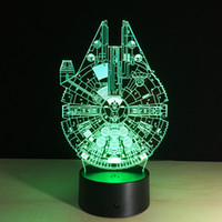 Barato Caixa Usb Diy-MILLENIUM FALCON 3D Lâmpada LED Ilusão Night Light 7 RGB Lights USB Alimentado AA Bateria Dropshipping Gift Box