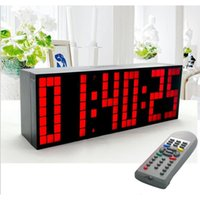 Wholesale Wall Countdown Timers - Wholesale- Multifunctional Digital Big LED Snooze Countdown Timer Remote Control clock Wall Desktop Alarm Clocks With Big Number