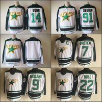Wholesale Hockey Dallas - 2018 New Stitched Dallas Stars 14 Jamie Benn 91 Tyler Seguin 22 BRETT HULL 7 NEAL BROTEN 9 MIKE MODANO Throwback Blank Jersey Stitched White