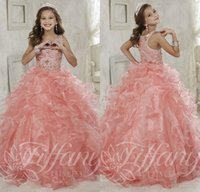 Wholesale Girls Pink Gowns - Gorgeous Beaded Crystal Girls Pageant Dresses 2016 Sparkly Ruffled Organza Ball Gown Girls Birthday Prom Gowns Fast Delivery