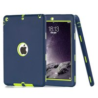 Für ipad Luft / Für ipad 5 3 in 1 Hybride Rüstung Gummi Shockproof Heavy Duty Hard Case Cover Display Schutzfolie + Stylus Stift