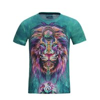Wholesale Lions Shirt Xl - Hiphop Coats Mens T Shirts 3D Lion Printing Tops Tees Overcoat Short Sleeve Streetwear Breathable Sweat New Fashion 2017 Green