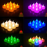 Wholesale white flickering battery tea lights resale online - Electronic Smokeless LED Candle Battery Operated Flicker LED Tea Light Wedding Candles Birthday Party Christmas Decoration