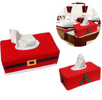 Wholesale tissue box santa claus - Christmas Tissue Boxes Napkin Bag Santa Claus Snowman Tissue Bags Christmas Gifts Car Home Decoration Tissue Holder KKA3339