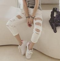 Wholesale Cheap Women Jeans Pants - Wholesale- Women New 2016 Fashion Classic Jeans Cheap Price Ripped Holes Straight Loose Capris Jeans Casual White Jeans Free Shipping