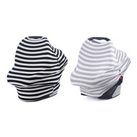 Wholesale Baby Car Seats Covers - Multi-Use Stretchy Baby Nursing Breastfeeding Privacy Cover with Button Scarf Blanket Stripe Infinity Scarf Nursing Baby Car Seat Cover