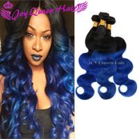 Wholesale Blue Human Weave - Natural Ombre human hair weaves Brazilian Peruvian Malaysian human hair bundles two tone color 1b Blue 3pcs hair extension double weft