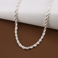 Wholesale Cheap Tanzanite - 16-24 inch 40cm-45cm 100% 925 standard sterling silver 3MM flash twisted rope items fashion rope chain silver ornaments can pendant cheap DI