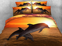 Hot Sale Sunset Jumping Dolphin Ensembles de literie imprimés 3D Twin Full Queen King Size Tissu Coton couvertures de couette Oreiller Shams Consommateur Animal