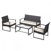 black wicker outdoor furniture - Outdoor Patio Sofa Set Sectional Furniture Wicker Rattan Deck Black