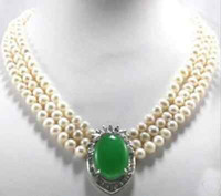 3Strands 7-8mm White Culutred Pearl Pearl Emerald Necklace 17