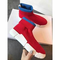 Sock Knitted Treinadores Sneakers Womens Ankle Boots Flat heel Designer de moda Fall Winter Casual Shoes