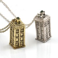 Wholesale Pewter Jewelry Boxes - Vintage Jewelry Doctor Who 3D Antique Silver Bronze Tardis Police Box Pewter Tall Long Chain Pendant Necklace For Men And Women