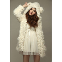 Wholesale Warm Teddy Bear - Wholesale- Autumn Winter Warm Women Hoodie Coat Jacket Teddy Bear Ears Thick Soft Fleece Fur Overcoat Sweatshirt Hooded Long Outerwear