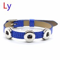 Wholesale Wholesale Snake Pin - VOCHENG NOOSA Pin buckle blue Leather Bracelet Interchangeable 12mm Ginger Snap Charm Bracelet Popper Jewelry Free shipping NR0164