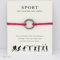 Wholesale Unisex Friendship Bracelets - Wish Bracelet With Gift Card Gymnastics Charm Sports Bracelets & Bangles Gifts For Women Girls Adjustable Friendship Jewelry