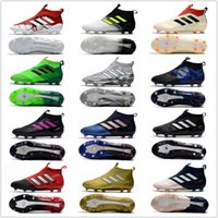 Wholesale Grey Rubber Bands - 2017 adidas ACE 17+ PureControl FG cheap indoor soccer shoes football boots high top mens soccer cleats Free shipping