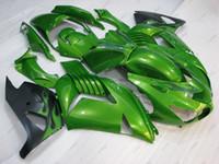 zzr carenados verde al por mayor-Kits de cuerpo completo ZZR 1400 2011 Carenado ABS Zx14 Zx-14r 06 07 Verde Negro Carenados de plástico ZZ-R1400 2010 2006 - 2011