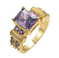 Wholesale Yellow Gold Purple Diamond Rings - Women Fashion Jewelry Amethyst Purple Zircon Stone Rings 10KT Yellow Gold Filled CZ Diamond Crystal Ring Best Selling