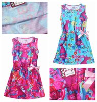 Wholesale Short Pleated Plaid Skirt - 2colors Summer Trolls Ball Printing Dress Sleeveless Beach Dress For Girls skirts For Baby Clothing Kids party Dress With Cute Bow flower