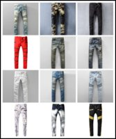Wholesale Mens Casual Jeans Style - Designer Hole Men Biker Jeans Classic Straight Jeans Wash Cowboy Slim Denim Trousers Skinny Pants Casual Mens Ripped Jean Motorcycle Jeans