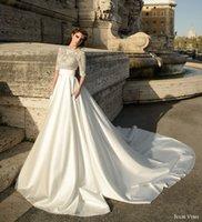 Wholesale Embroidery Aline Wedding Dress - overskirt with pockets half sleeves sheath wedding dresses 2017 julie vino bridal jewel neck v-back beaded elegant aline chaple train