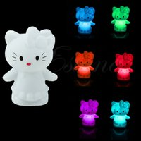 Wholesale Small Night Light Lamps - Wholesale- Nice Party Animal Decoration Lamp Cute Cat Colorful Changing Small LED Night Light #U225#