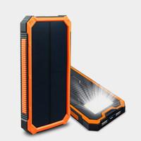 Wholesale External Battery Mp3 - Solar Power Bank 12000mah Portable External Charger Battery Poverbank Inverter Carregador Charging Bateria Externa Cargador