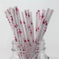 palhas rosa quente venda por atacado-200 pcs Folha Canudos De Papel Flamingo METÁLICO Hot Pink Canudos Shinny Casamento Nupcial Do Chuveiro Bachelorette Party Decor